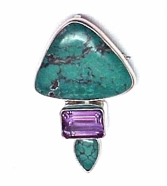 Sterling Silver Turquoise Amethyst Pendant Pin Charles Albert Hand Crafted