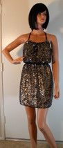 Nwt Adrianna Papell Full Bead Gold & Black Sequin Halter Dress 2 (Make An Offer) - $170.78