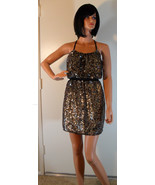 NWT ADRIANNA PAPELL Full Bead Gold & Black Sequin Halter Dress 2 (MAKE A... - $170.78