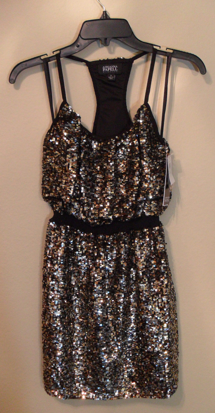 NWT ADRIANNA PAPELL Full Bead Gold & Black Sequin Halter Dress 2 (MAKE AN OFFER)