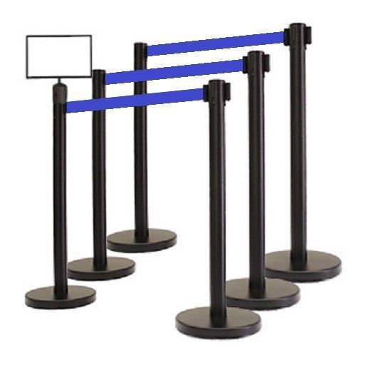 "RETRACTABLE BELT STANCHION, 6 Posts + SignFrame + CUSTOM PRINT 78"" BLK BELT"