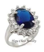 WOMEN'S SILVER TONE 6 CT OVAL MONTANA BLUE 4 PRONG CZ ENGAGEMENT RING SI... - $17.54