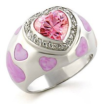 WOMEN'S STERLING SILVER EPOXY PINK HEART CUBIC ZIRCONIA DOME RING SIZE 6... - $22.04