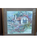 Floral Cottage Signed Print Framed by Dawna Barton (1987) - $70.00