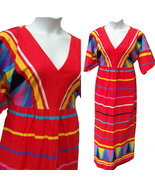 Vintage 70s bold abstract red maxi dress cotton... - $18.50