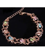 New Multi Colors Gold Tone Czech Crystal Spider Bangle Bracelet - $7.50
