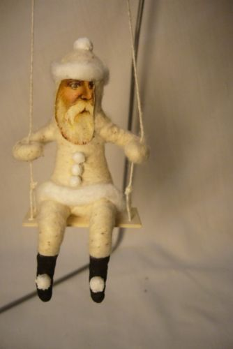 Vintage Inspired Spun Cotton, Santa on Swing Ornament