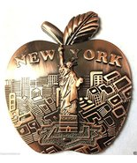 Big Apple Shape New York Souvenir Metal Fridge Magnet NY Statue of Liber... - $4.99