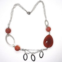 Necklace Silver 925, Carnelian Red Drop, Agate Maculata, Ovals Hanging image 2