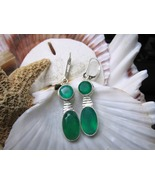 Sterling Silver Green Onyx Drop Leverback Earrings 6.51 grams - $15.00