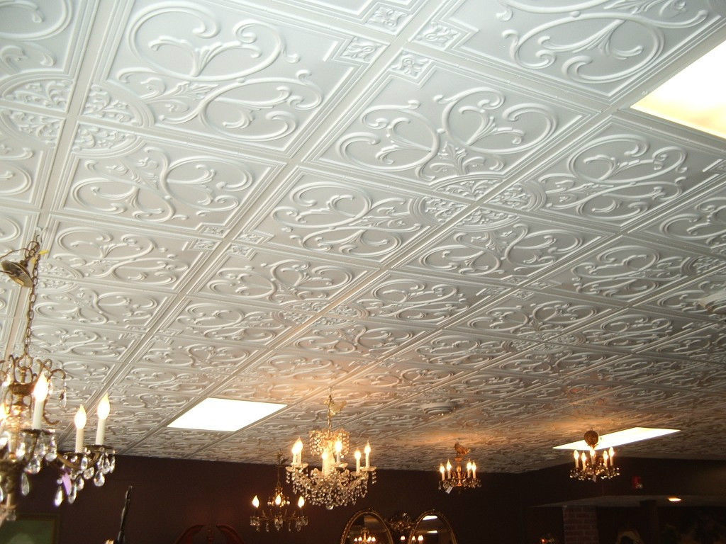 Ceiling Tiles Cover Ugly Popcorn And Stained Ceilings Other