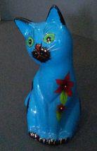 "CAT MONEY BANK Coin Piggy Blue Kitten Figurine Ceramic 6"" NEW image 3"