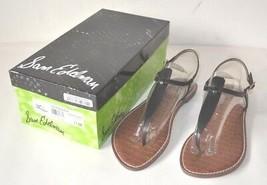 Sam Edelman Women Gigi Thong Sandal True Black Leather 11 Medium US NEW NOS  - $67.50