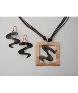 Pewter Copper Earrings Necklace Set Square Pendant Pierced Dangle Cord  - $37.00