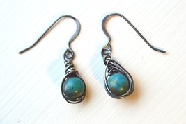 Turquoise Oxidized Sterling Silver Polished Earrings - $22.00
