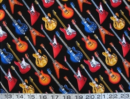 1/2 yd music/bright electric guitars/black quilt fabric -free shipping