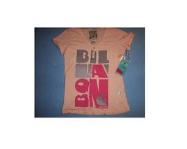 WOMEN'S JRS  BILLABONG HENLEY GRAPHIC V-NECK TEE T SHIRT PEACH SIZE S NE... - $8.99