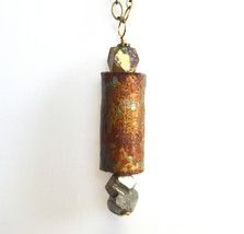 Multicolored Rustic Pyrite and Wine Cork Pendan... - $24.99