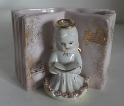 Vintage Angel Music Book Planter Vase Japan - $8.99