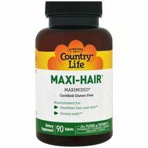 Country Life Maxi Hair 90 Tablets Gluten-Free, GMP Quality Assured , Milk-Free, - $24.99