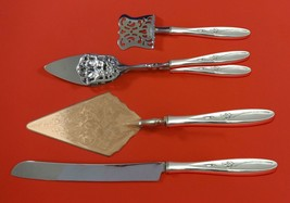 Rose Solitaire by Towle Sterling Silver Dessert Serving Set 4pc Custom Made - $284.05