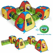 8 in 1 Pop Up Kids Play Tent House with 4 Tunnel, 4 Tents for Indoor Out... - $120.80