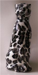 Leopard Like Elegant Cat Figurine Ceramic 8""
