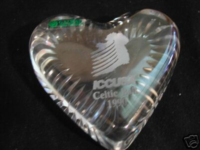 Galway Irish Crystal Cut Glass Heart Paperweight 1990