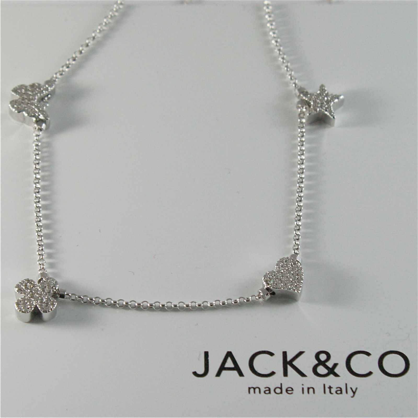 Silver Necklace 925 Jack&co with Four-Leaf Clover Heart Star and Butterfly 45 CM