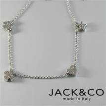 Silver Necklace 925 Jack&co with Four-Leaf Clover Heart Star and Butterfly 45 CM image 1