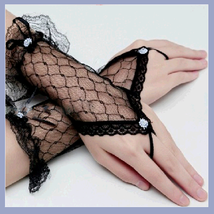 Black Fingerless Lace Short Bridal Gloves w/ Wrist Ribbon Ties