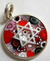 Murano Glass Star Of David Judaica Pendant Millefiori 925 Silver Red Lil... - $22.90