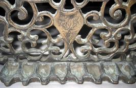 Judaica Hanukkah Oil Menorah Antique Copper Alloy Engraved Italy/North Africa image 3