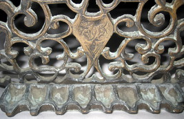 Judaica Hanukkah Oil Menorah Antique Copper Alloy Engraved Italy/North Africa image 6