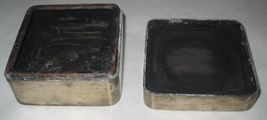 Antique Inkwell Asian Japanese Box Marked KYOTO Fu Dog White Metal 19th Century image 6