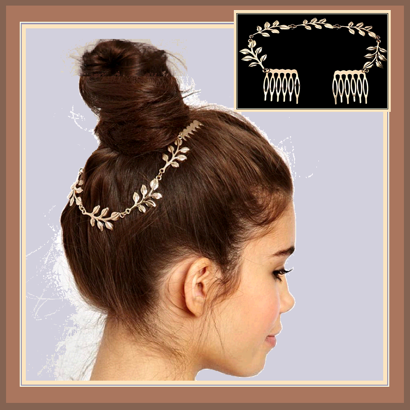 Vintage Renaissance Metal Gold Chain of Leaves Wedding Hair Band with Combs