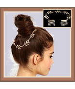 Vintage Renaissance Metal Gold Chain of Leaves Wedding Hair Band with C... - $0.00