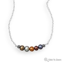 Cultured Freshwater Mulitcolor Pearl Bar Design... - $42.98