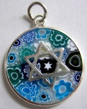 Murano Glass Star Of David Judaica Pendant Millefiori 925 Silver Aqua Bl... - $22.90