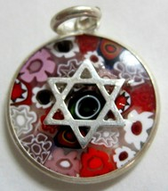 Murano Glass Pendant Star Of David Judaica Millefiori 925 Silver Red Bla... - $22.90