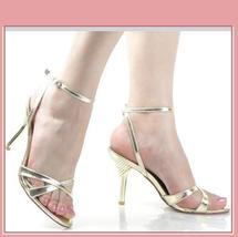 Gold Italian Stiletto Bridal 3 inch Low High Heel Spike Strappy Sandals