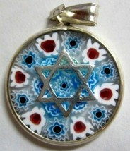 Murano Glass Star Of David Judaica Pendant Mill... - $22.90