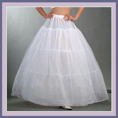 White Ball Gown Style Gala A-Line Tulle Petticoat w/ 3 Hoops Underskirt 1 Layer