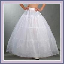 White Ball Gown Style Gala A-Line Tulle Petticoat w/ 3 Hoops Underskirt 1 Layer image 1