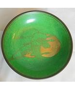 """Vintage Green Enamel and Gold Dish / Bowl  Cranes Brass Holder Japan 5.75"""" - $24.00"""
