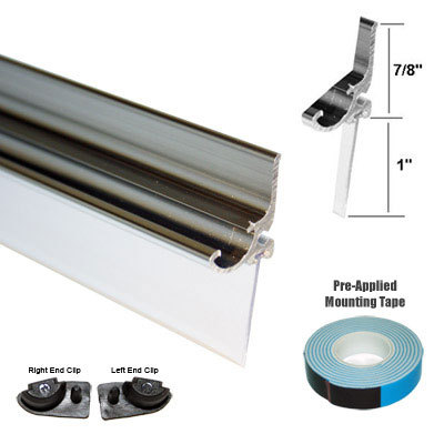 "Primary image for Chrome Framed Shower Door Replacement Drip Rail with Vinyl Sweep - 32"" Long"