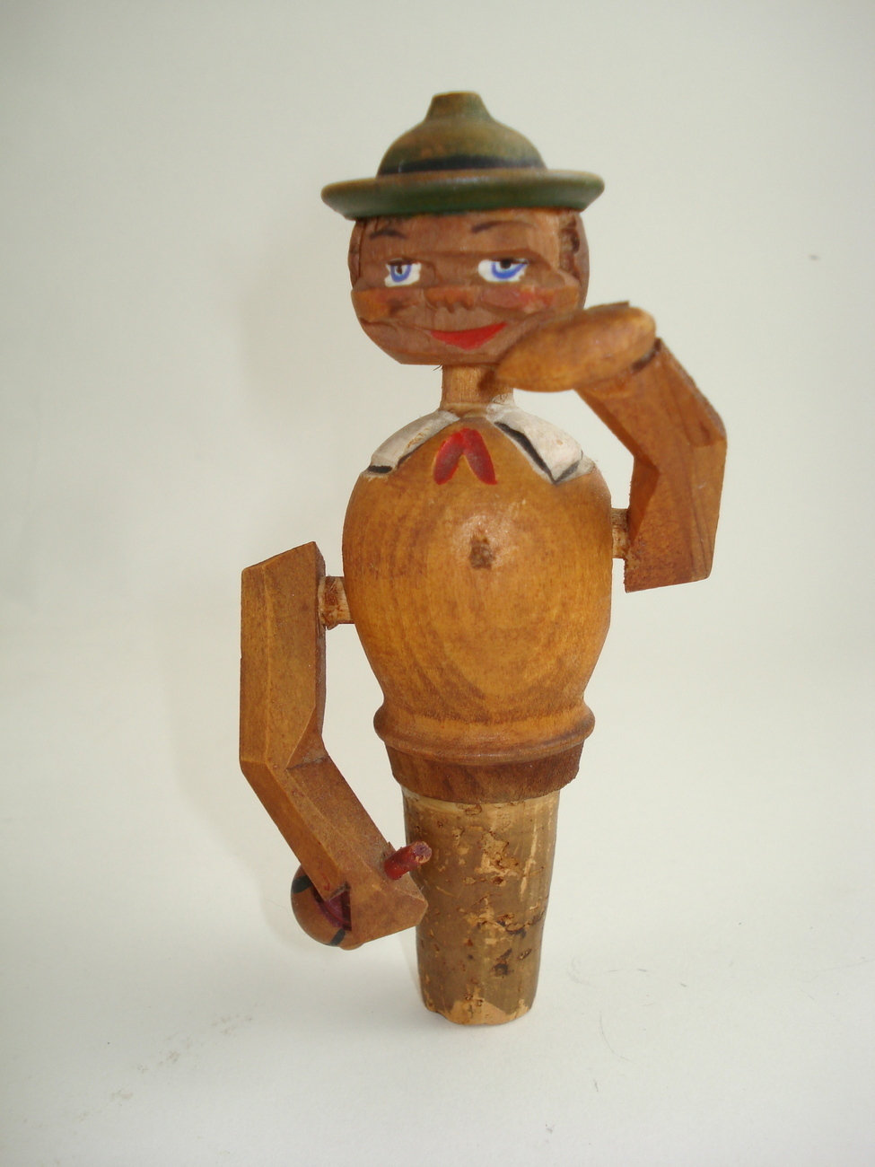figural wooden bottle stopper-possible Anri