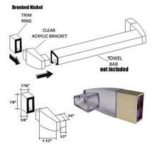Clear Acrylic Towel Bar Brackets with Brushed Nickel Sleeve - $21.95