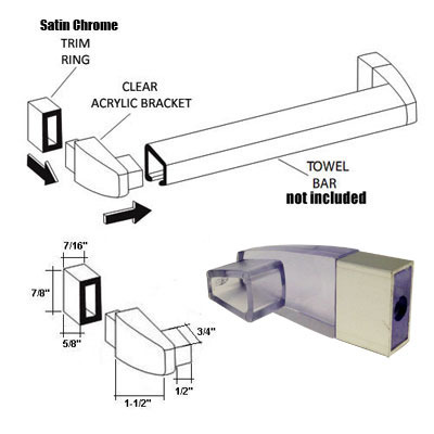 Primary image for Clear Acrylic Towel Bar Brackets with Satin Chrome Sleeve