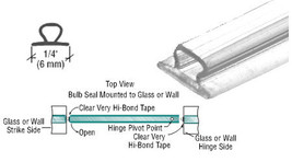"CRL Translucent Vinyl Bulb Seal 5/32"" Gap - 98 in long - $10.95"